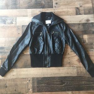 dELiAs Faux Vegan Leather Bomber Jacket Black Sz M